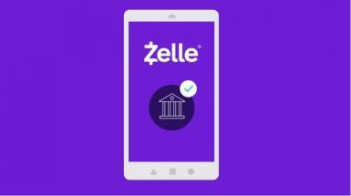 purple background with mobile phone displaying zelle and a checkmark
